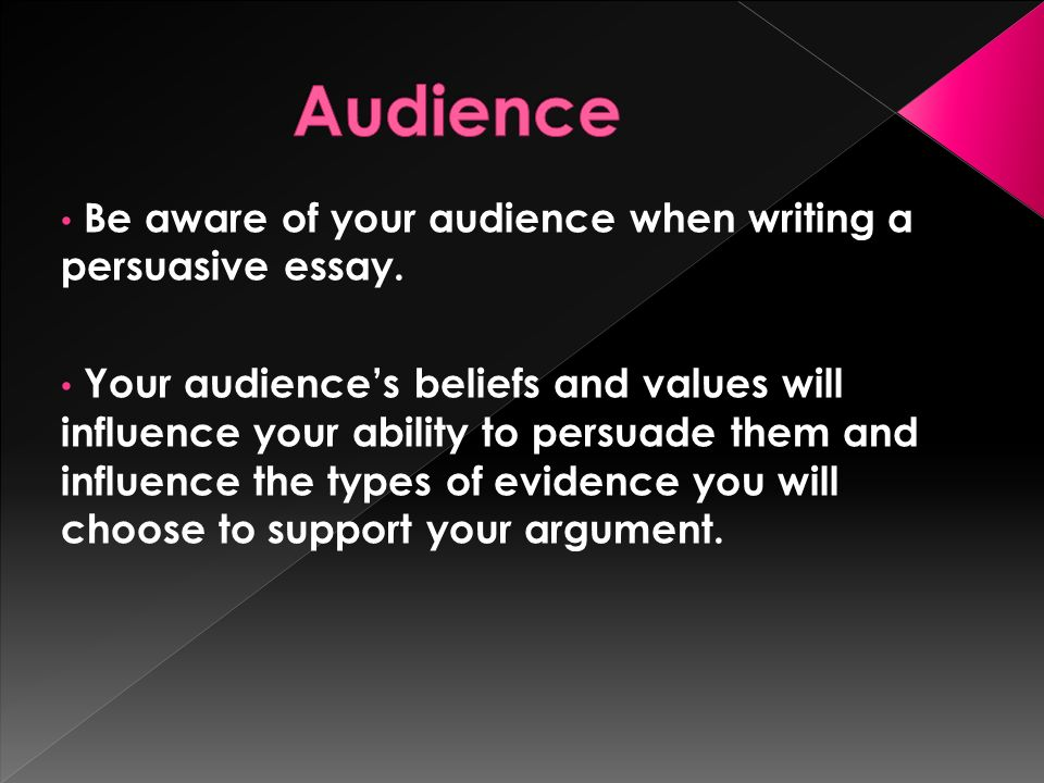 an essay which tries to convince a reader to believe what you  be aware of your audience when writing a persuasive essay
