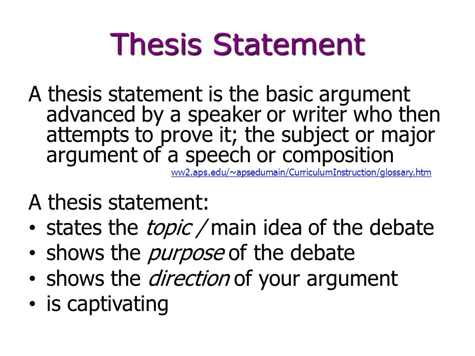 debate thesis statement Learn how to create a thesis statement for a debate resolution this can also work with essay writing as a thesis statement is a statement that supports your.
