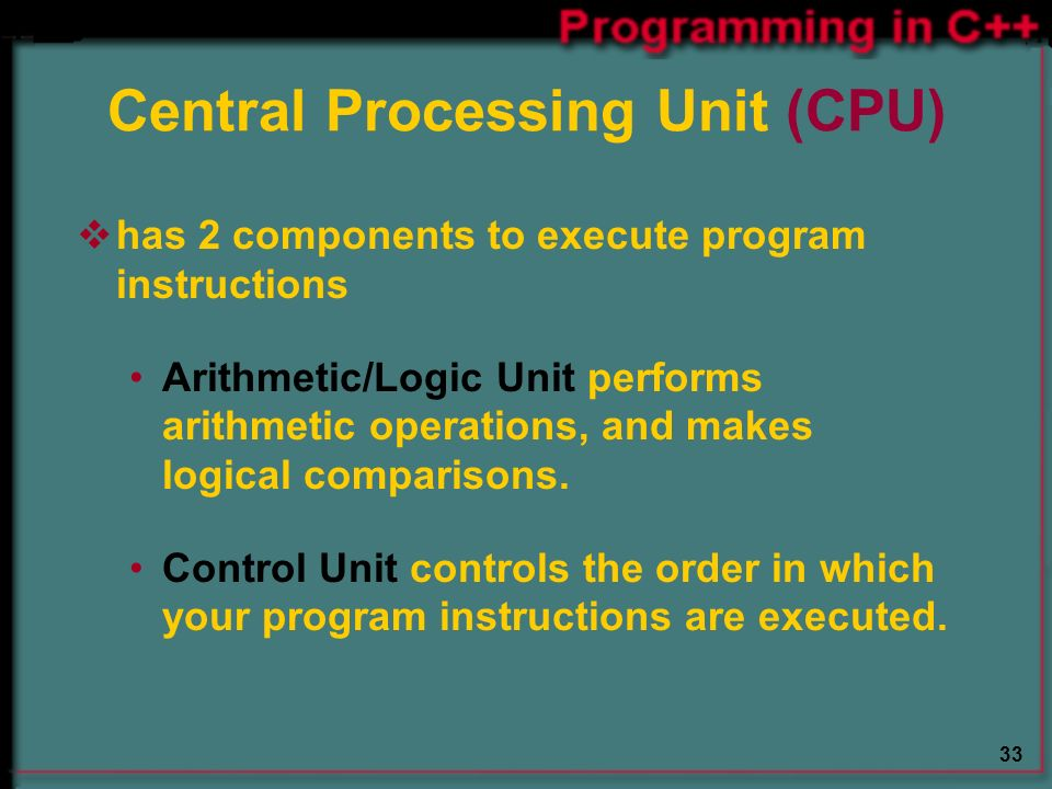 33 Central Processing Unit (CPU)  has 2 components to execute program instructions Arithmetic/Logic Unit performs arithmetic operations, and makes logical comparisons.