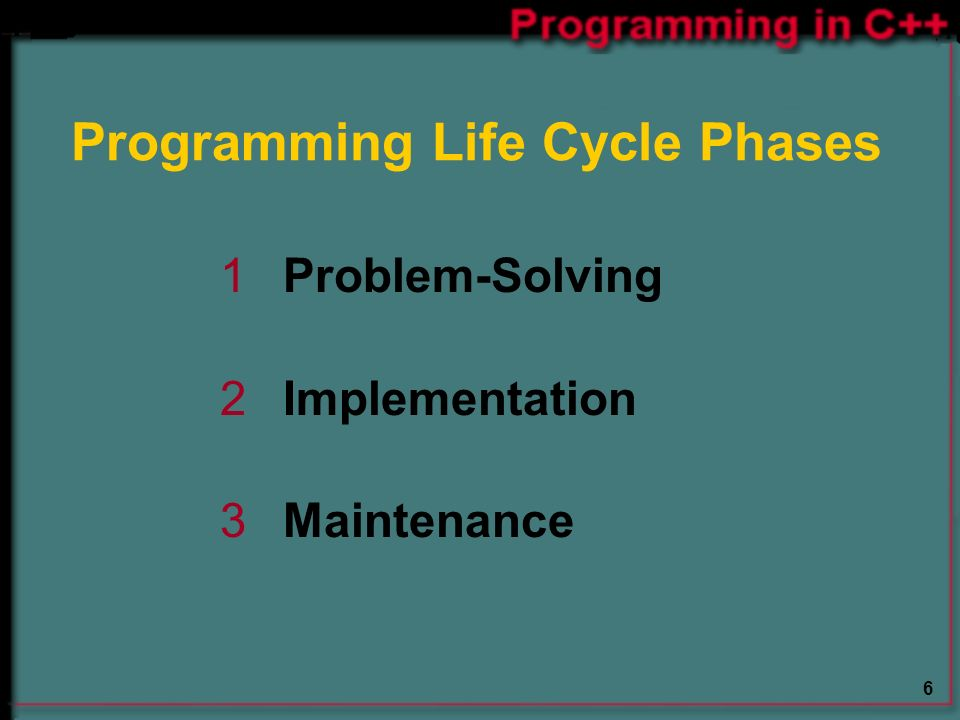 6 Programming Life Cycle Phases 1 Problem-Solving 2 Implementation 3 Maintenance