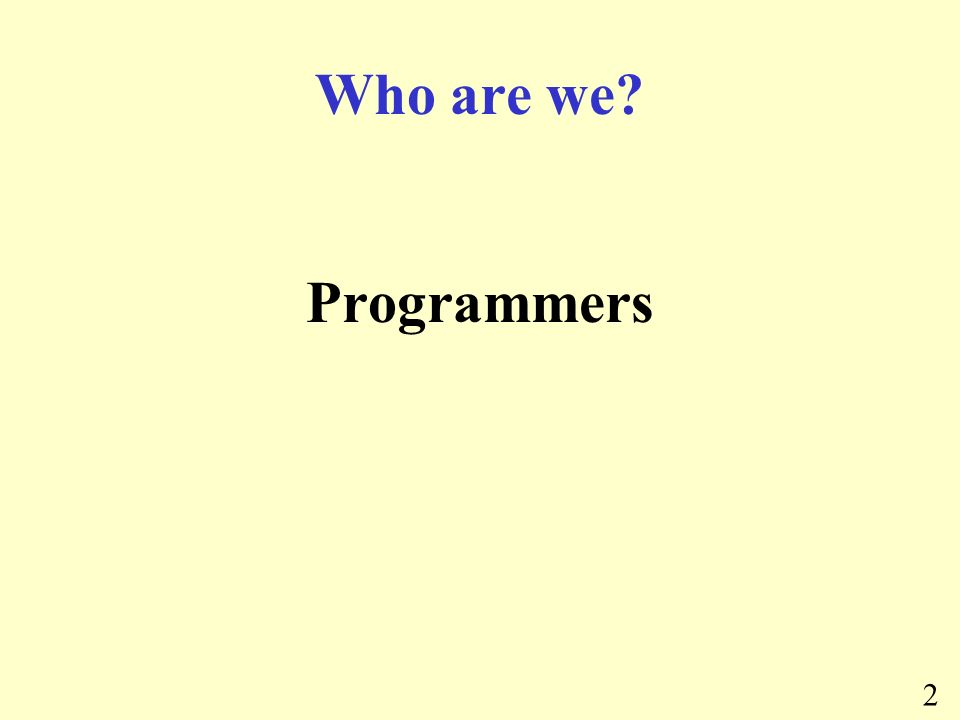 2 Who are we Programmers