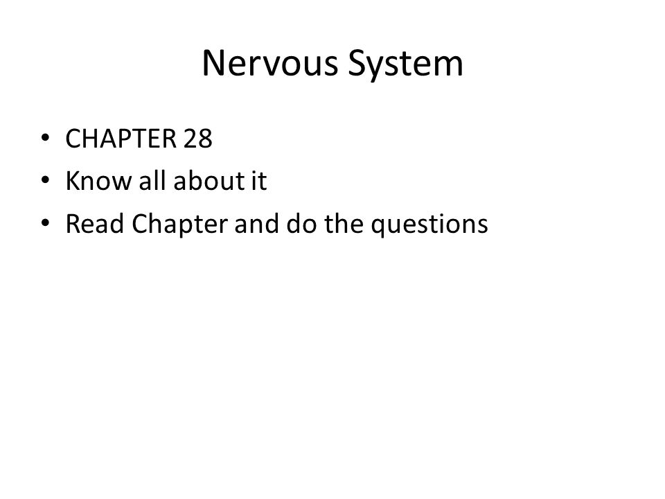 Nervous System CHAPTER 28 Know all about it Read Chapter and do the questions