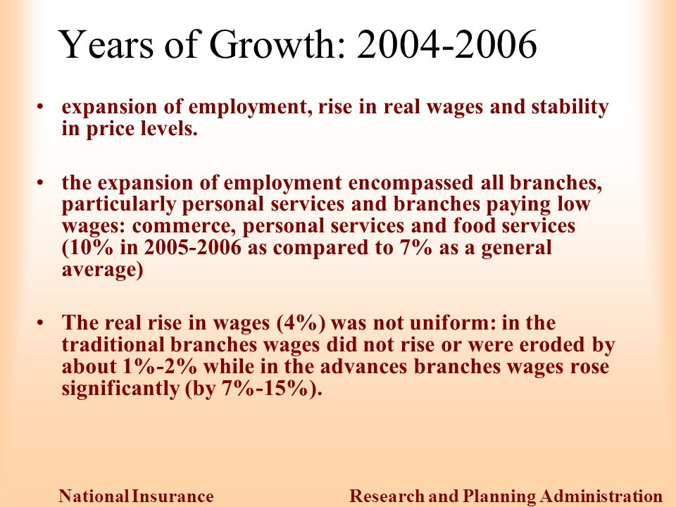 Research and Planning Administration National Insurance Institute Years of Growth: expansion of employment, rise in real wages and stability in price levels.