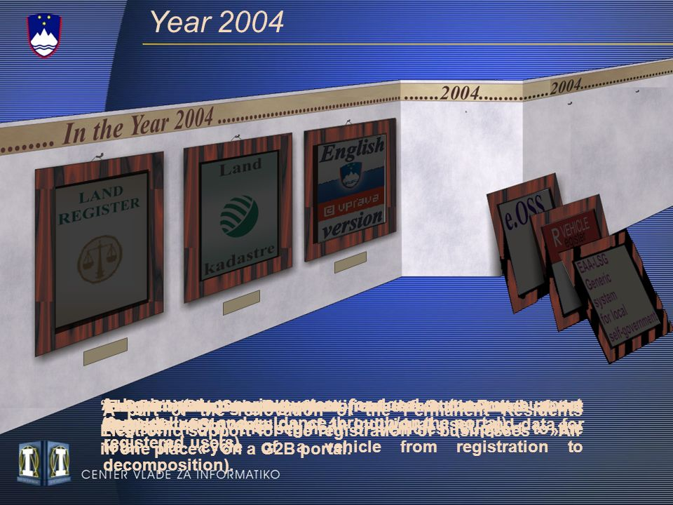 Year 2004 Generic systems: Implementation of general functions needed for exchange of data among citizens and administration bodies (authentication and authorisation, acquiring of data from official registers, e-signature of application forms, electronic filing and direction of the application to the address of the administration body, monitoring the status of application in process) The Register of Companies is a central informatised economic agents database (basic data, data on activites, founder member, agents, council member and decisions of the assembly) VAT on e-Services Allows for electronic submital of personal income tax, forms in field of VAT and more..