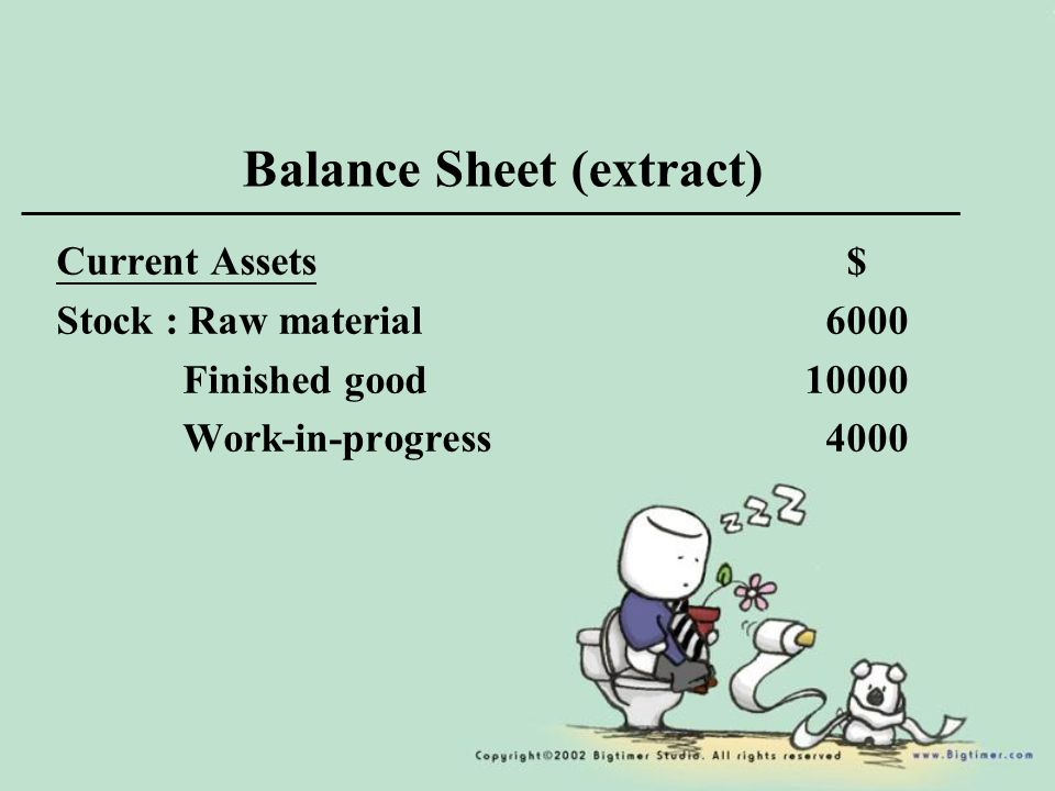 Balance Sheet (extract) Current Assets $ Stock : Raw material 6000 Finished good Work-in-progress 4000