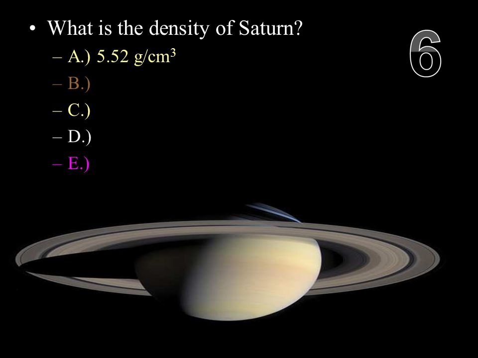 What is the density of Saturn.