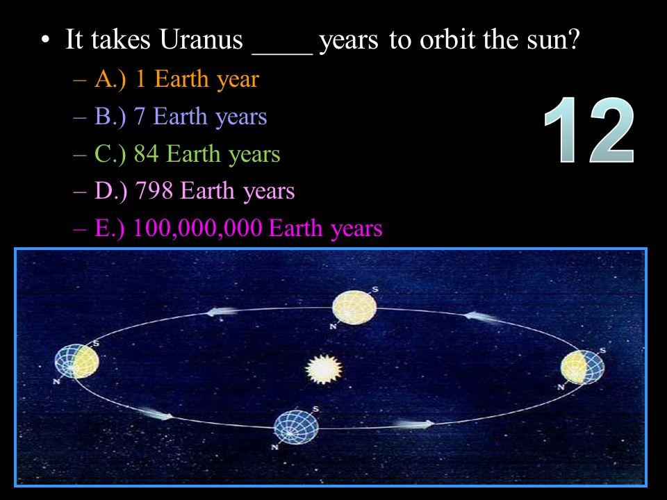 It takes Uranus ____ years to orbit the sun.