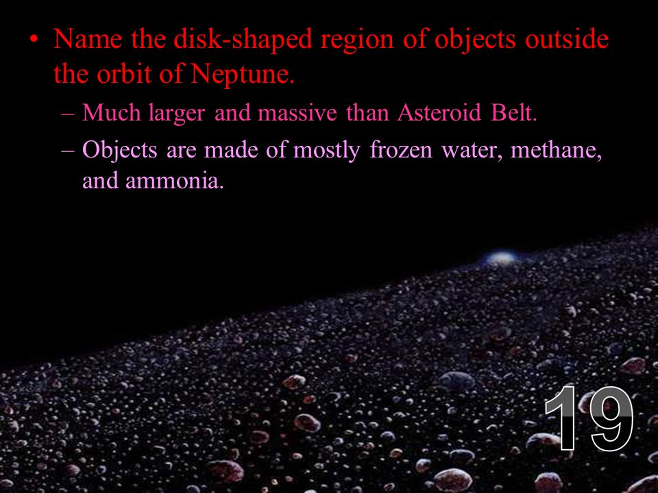 Name the disk-shaped region of objects outside the orbit of Neptune.