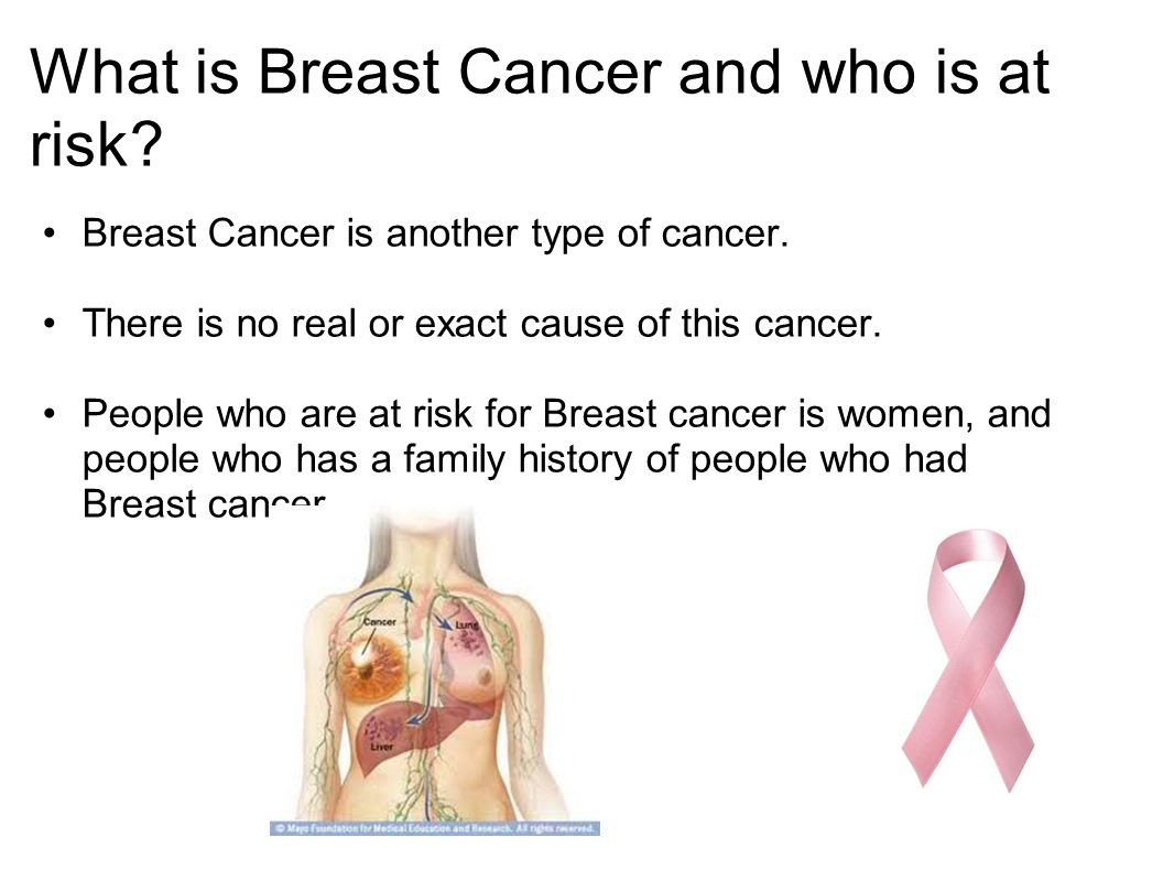 What is Breast Cancer and who is at risk. Breast Cancer is another type of cancer.