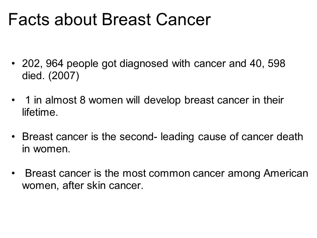 Facts about Breast Cancer 202, 964 people got diagnosed with cancer and 40, 598 died.