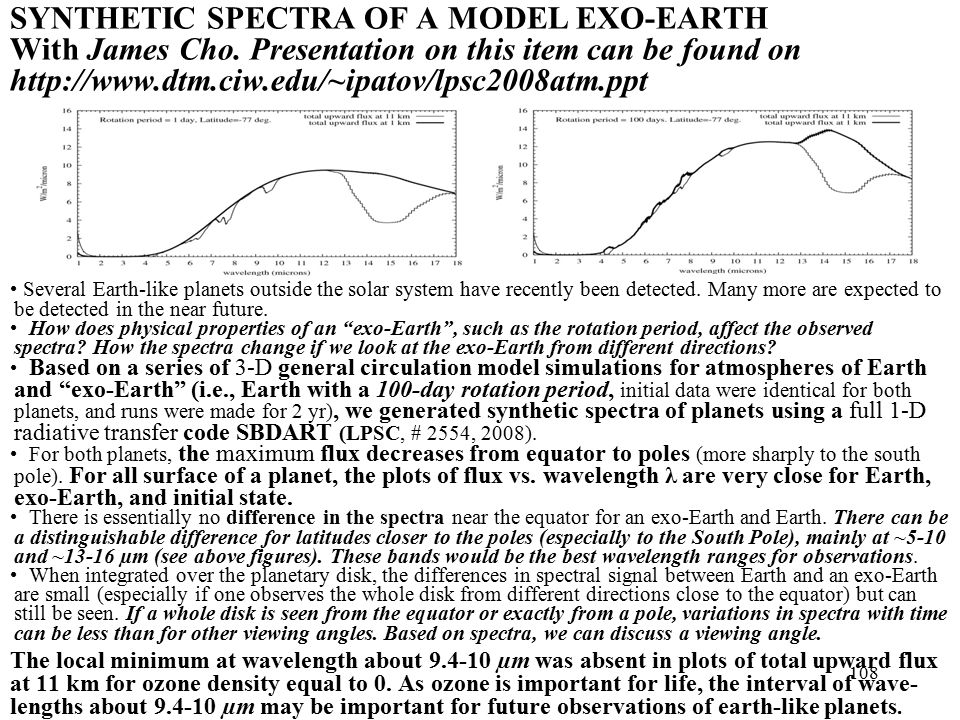 SYNTHETIC SPECTRA OF A MODEL EXO-EARTH With James Cho.