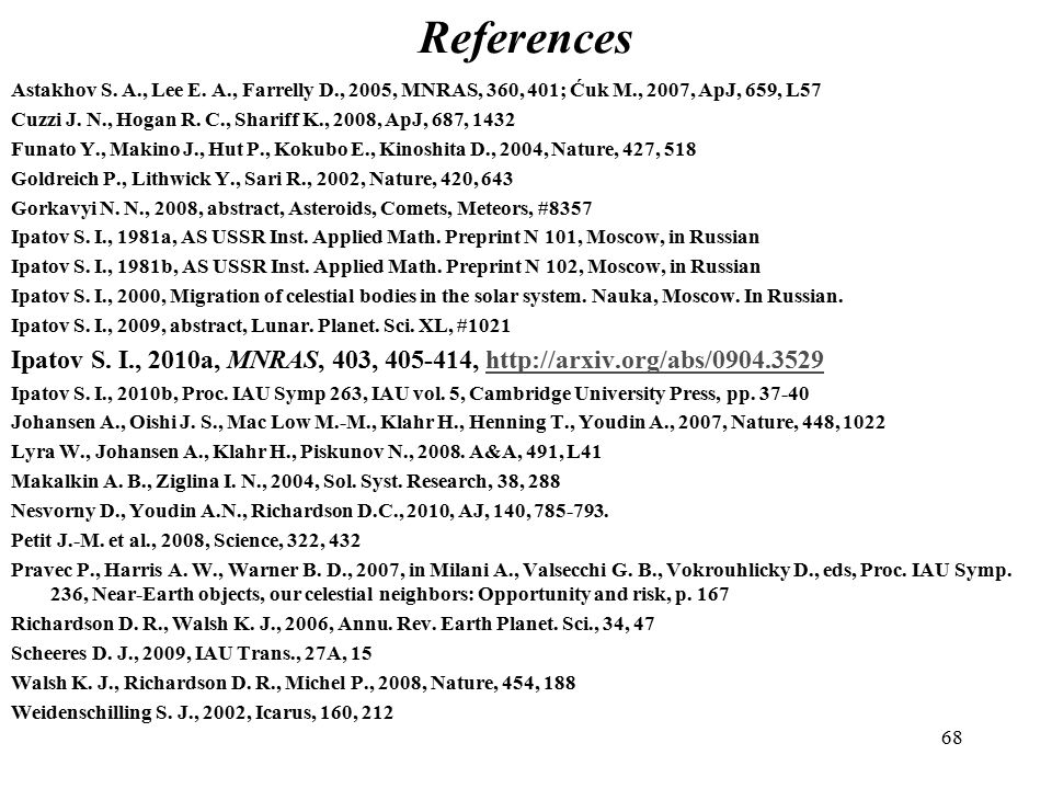 68 References Astakhov S. A., Lee E.