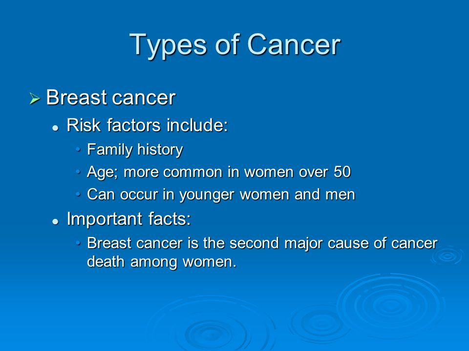 Types of Cancer  Breast cancer Risk factors include: Risk factors include: Family historyFamily history Age; more common in women over 50Age; more common in women over 50 Can occur in younger women and menCan occur in younger women and men Important facts: Important facts: Breast cancer is the second major cause of cancer death among women.Breast cancer is the second major cause of cancer death among women.