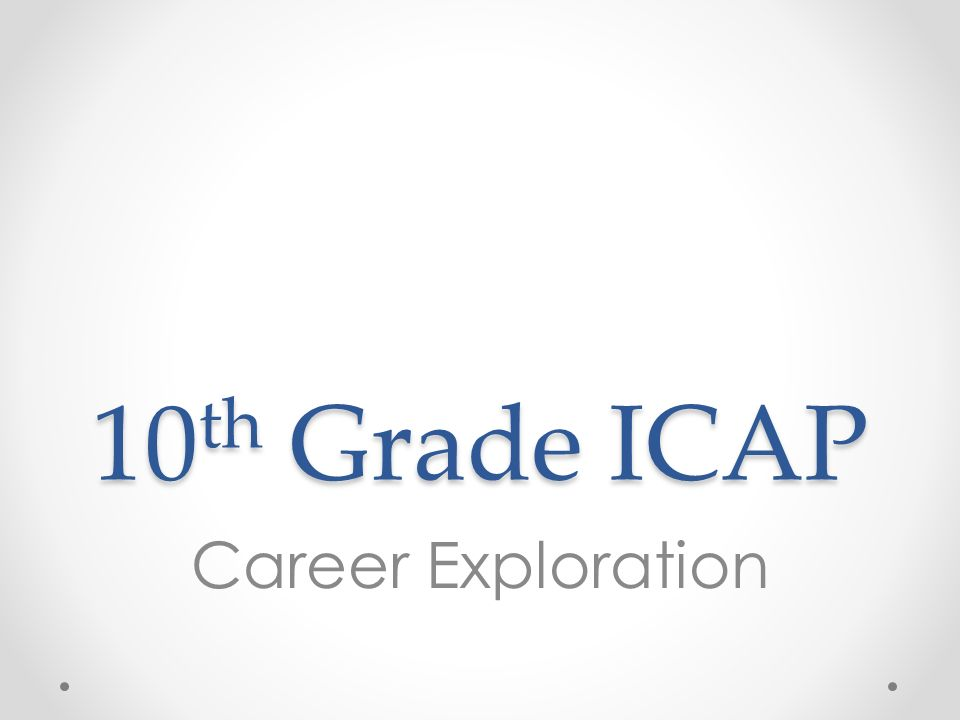 10 th Grade ICAP Career Exploration