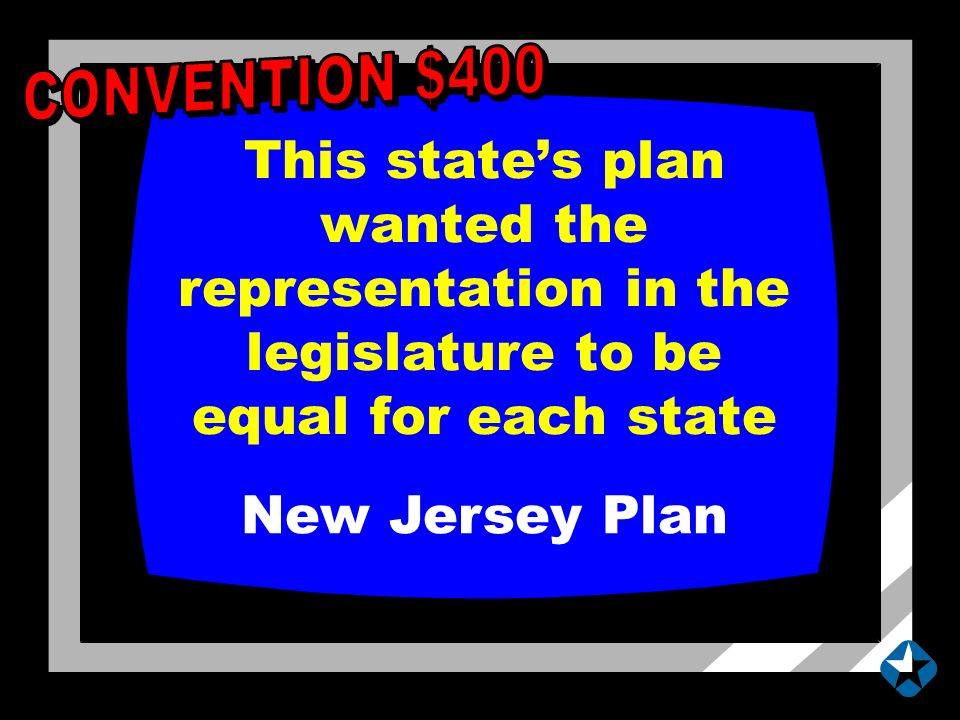 This state's plan wanted the representation in the legislature to be equal for each state New Jersey Plan