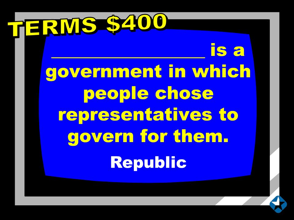 _________________ is a government in which people chose representatives to govern for them.