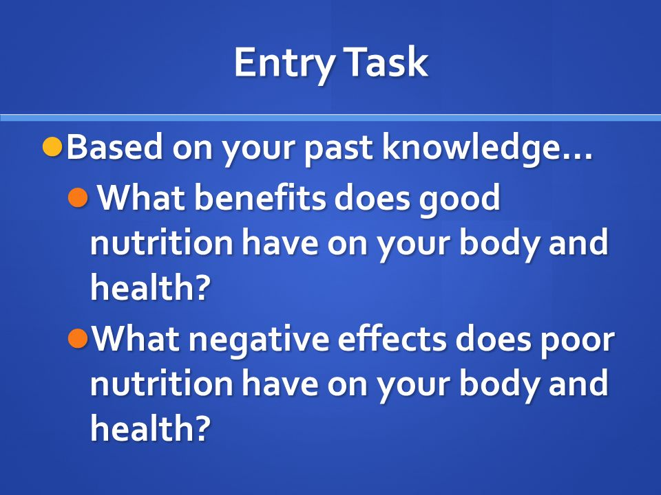 Entry Task Based on your past knowledge… Based on your past knowledge… What benefits does good nutrition have on your body and health.