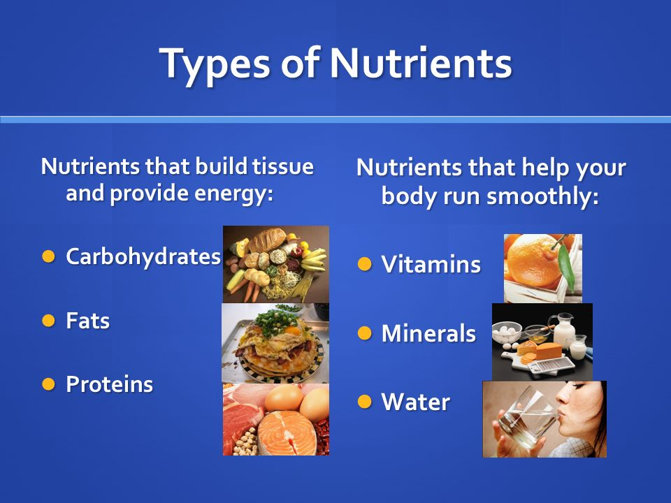 Types of Nutrients Nutrients that build tissue and provide energy: Carbohydrates Carbohydrates Fats Fats Proteins Proteins Nutrients that help your body run smoothly: Vitamins Minerals Water