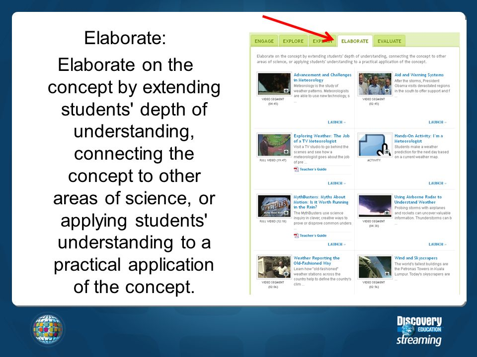 Elaborate: Elaborate on the concept by extending students depth of understanding, connecting the concept to other areas of science, or applying students understanding to a practical application of the concept.