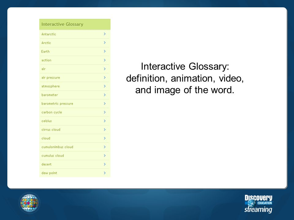 Interactive Glossary: definition, animation, video, and image of the word.