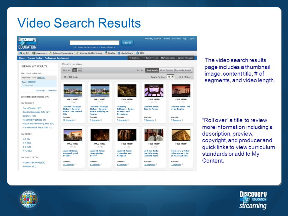 The video search results page includes a thumbnail image, content title, # of segments, and video length.