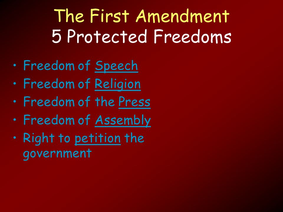 religious freedom free speech free press and free assembly and how the different suggestions of the  Freedom of speech and press: exceptions to the first amendment free speech rights of government employees and government freedom of speech and press.