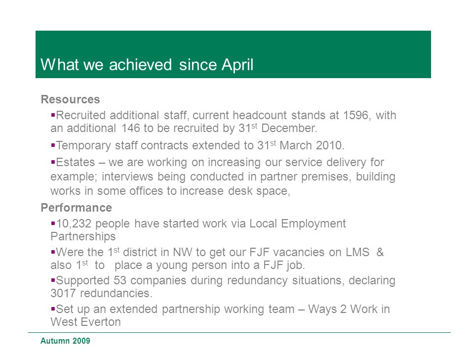 What we achieved since April Resources  Recruited additional staff, current headcount stands at 1596, with an additional 146 to be recruited by 31 st December.