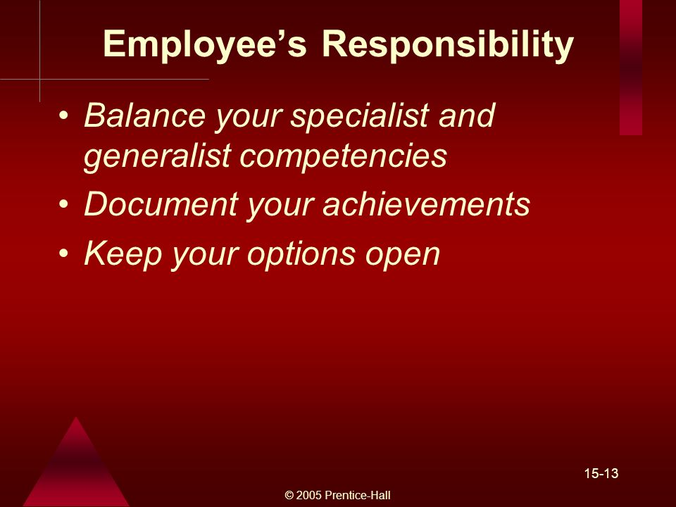 © 2005 Prentice-Hall 15-13 Employee's Responsibility Balance your specialist and generalist competencies Document your achievements Keep your options open