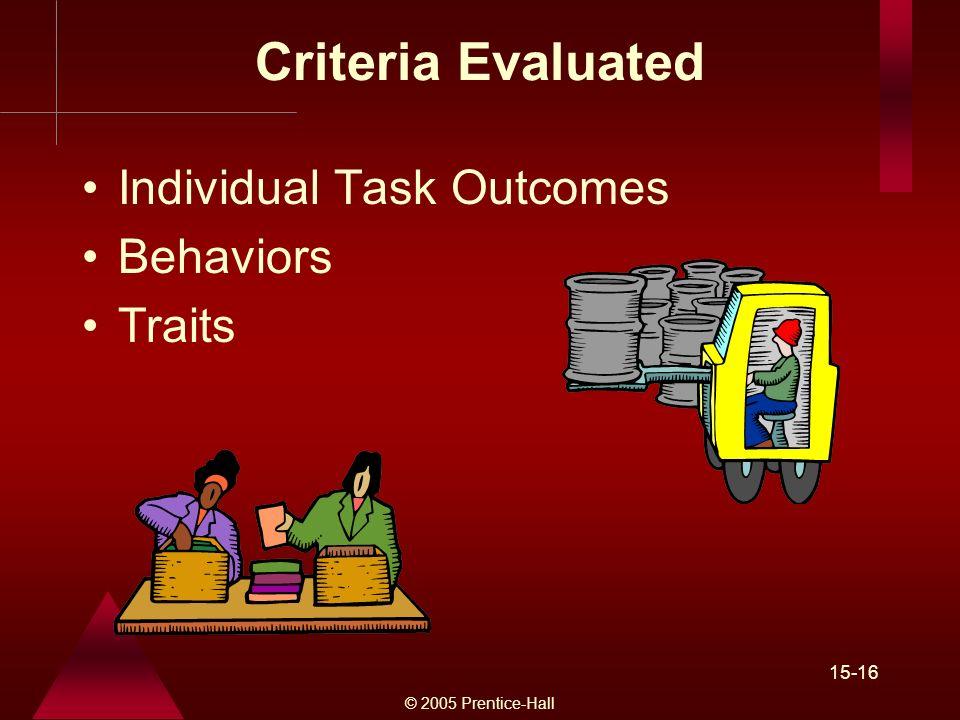 © 2005 Prentice-Hall 15-16 Criteria Evaluated Individual Task Outcomes Behaviors Traits