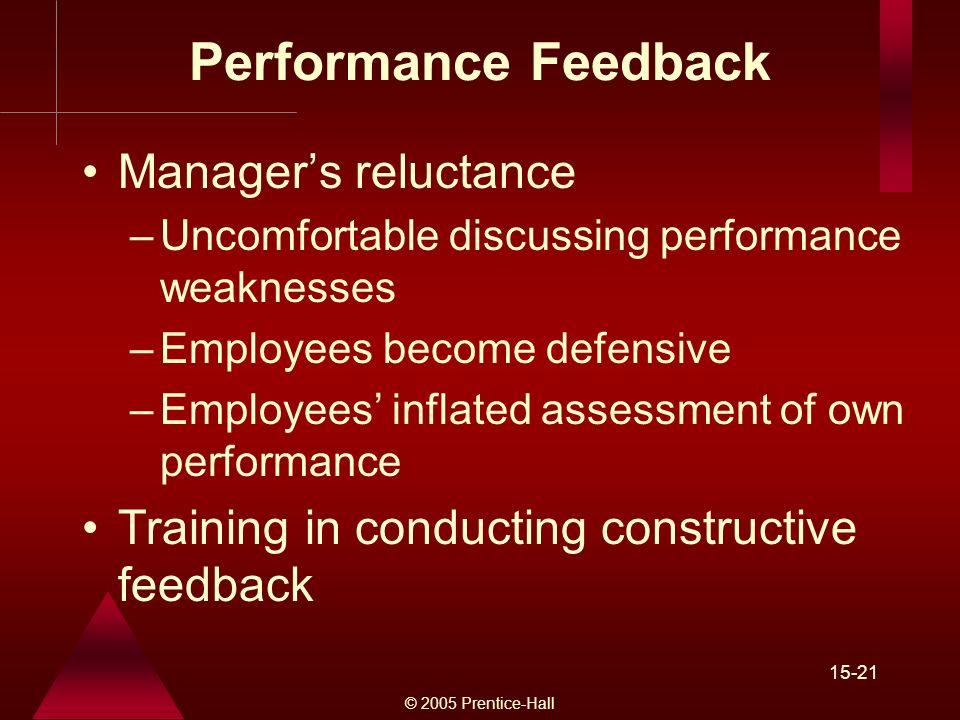 © 2005 Prentice-Hall 15-21 Performance Feedback Manager's reluctance –Uncomfortable discussing performance weaknesses –Employees become defensive –Employees' inflated assessment of own performance Training in conducting constructive feedback