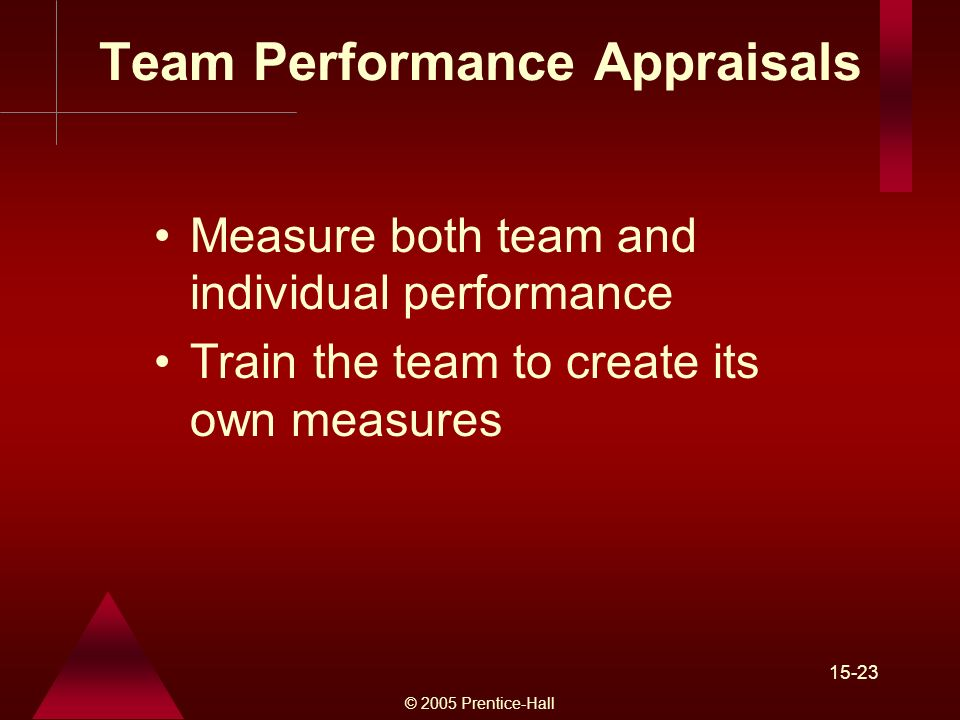 © 2005 Prentice-Hall 15-23 Team Performance Appraisals Measure both team and individual performance Train the team to create its own measures