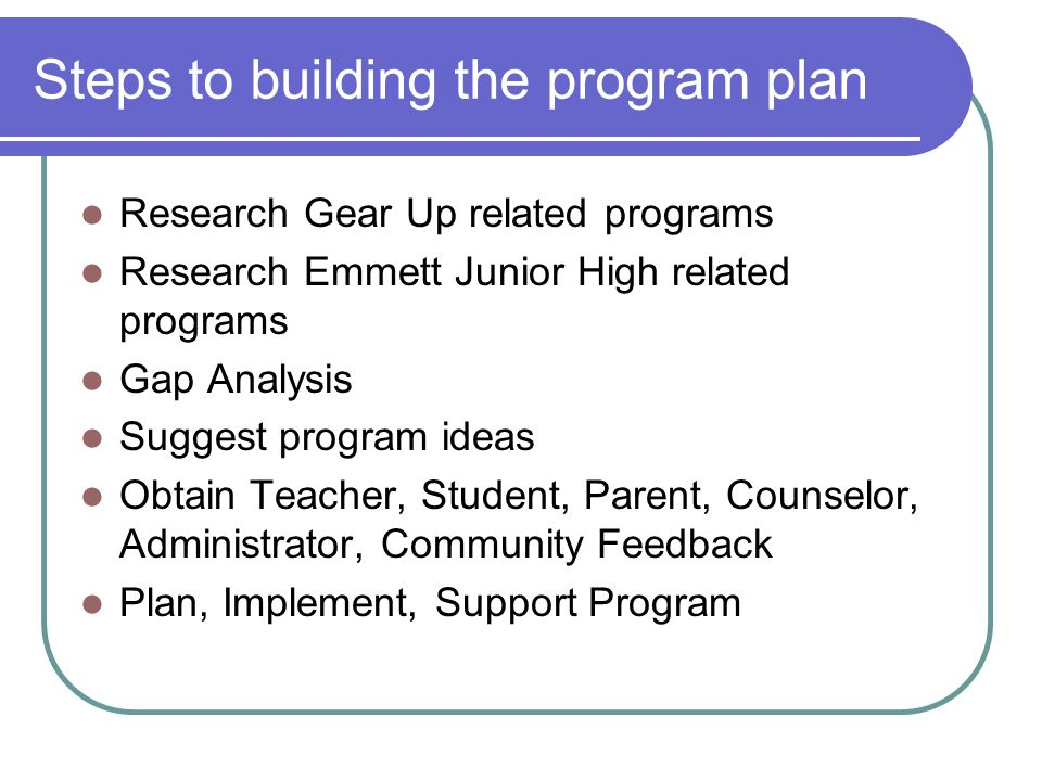Steps to building the program plan Research Gear Up related programs Research Emmett Junior High related programs Gap Analysis Suggest program ideas Obtain Teacher, Student, Parent, Counselor, Administrator, Community Feedback Plan, Implement, Support Program
