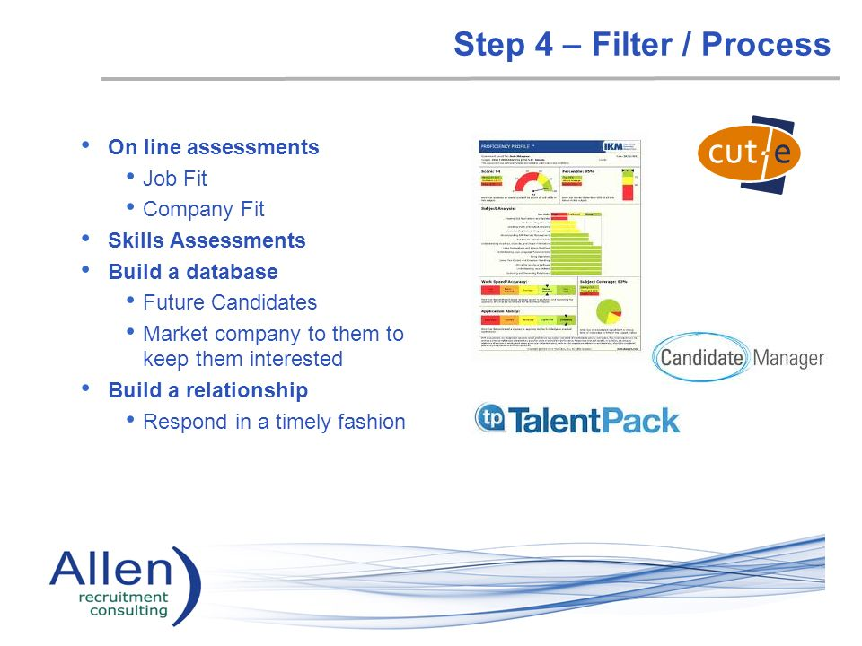Step 4 – Filter / Process On line assessments Job Fit Company Fit Skills Assessments Build a database Future Candidates Market company to them to keep them interested Build a relationship Respond in a timely fashion