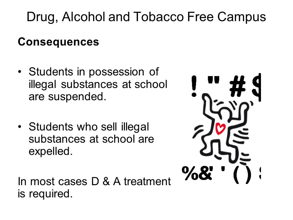 Drug, Alcohol and Tobacco Free Campus Consequences Students in possession of illegal substances at school are suspended.