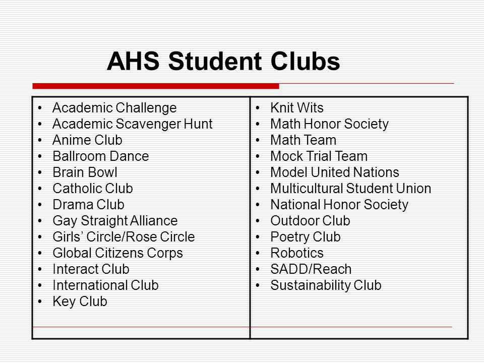 AHS Student Clubs Academic Challenge Academic Scavenger Hunt Anime Club Ballroom Dance Brain Bowl Catholic Club Drama Club Gay Straight Alliance Girls' Circle/Rose Circle Global Citizens Corps Interact Club International Club Key Club Knit Wits Math Honor Society Math Team Mock Trial Team Model United Nations Multicultural Student Union National Honor Society Outdoor Club Poetry Club Robotics SADD/Reach Sustainability Club