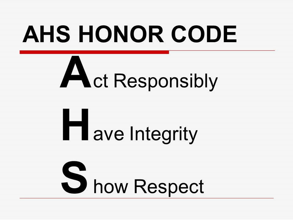 AHS HONOR CODE A ct Responsibly H ave Integrity S how Respect