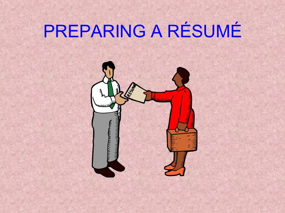 1 preparing a rsum