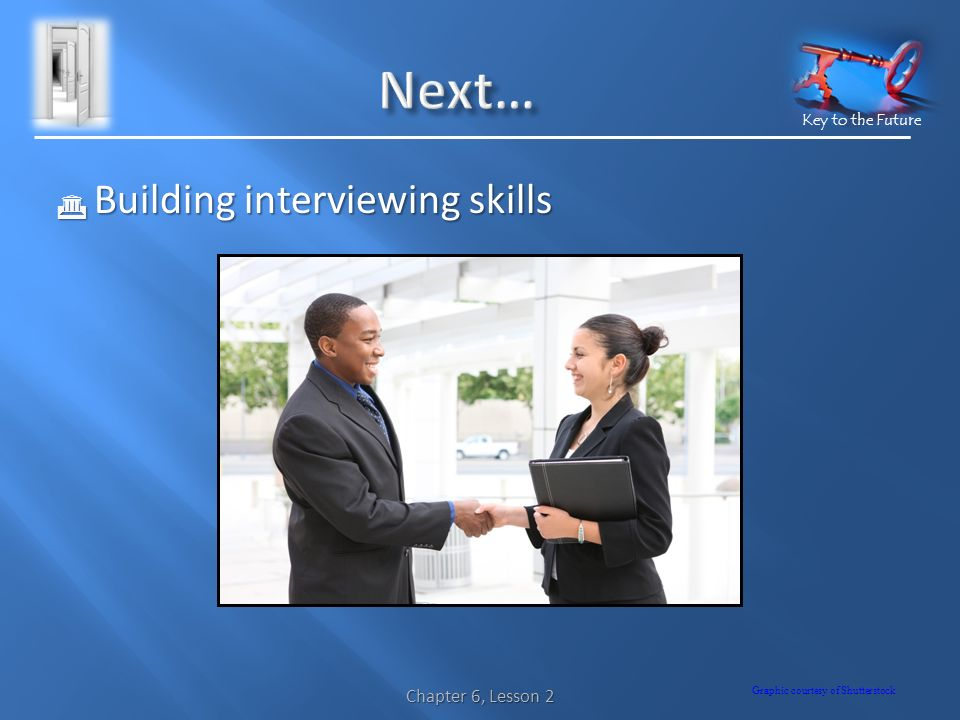 Key to the Future  Building interviewing skills Graphic courtesy of Shutterstock Chapter 6, Lesson 2