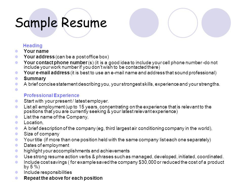 Sample Resume Heading Your Name Your Address Can Be A Post Office