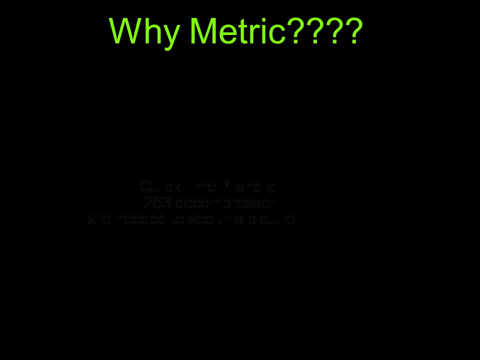 Why Metric