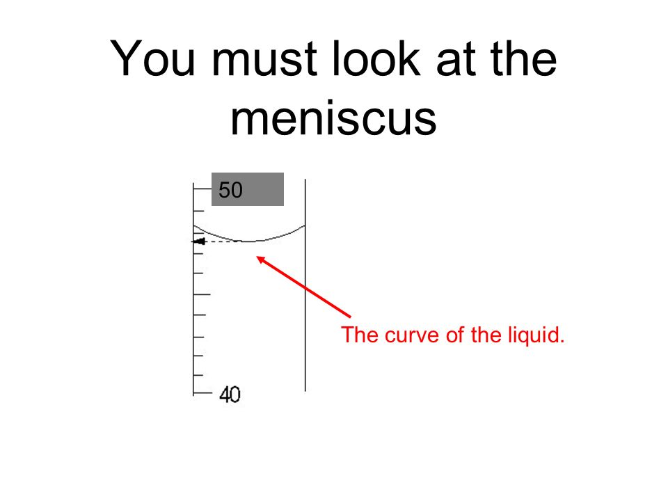 You must look at the meniscus The curve of the liquid. 50