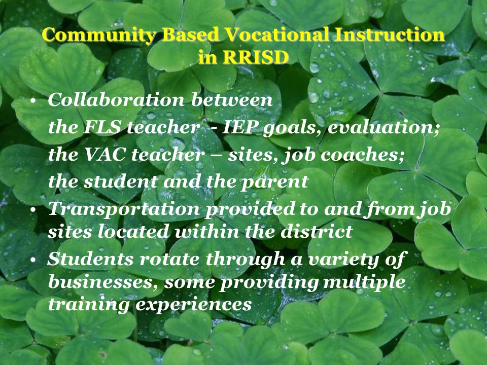 Community Based Vocational Instruction in RRISD Collaboration between the FLS teacher - IEP goals, evaluation; the VAC teacher – sites, job coaches; the student and the parent Transportation provided to and from job sites located within the district Students rotate through a variety of businesses, some providing multiple training experiences