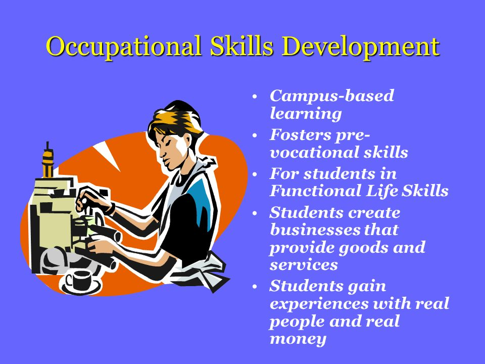 Occupational Skills Development Campus-based learning Fosters pre- vocational skills For students in Functional Life Skills Students create businesses that provide goods and services Students gain experiences with real people and real money