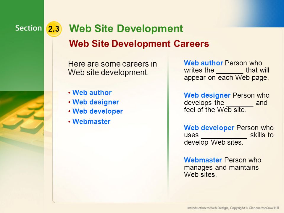 2.3 Web Site Development Web Site Development Careers Here are some careers in Web site development: Web author Web designer Web developer Webmaster Web author Person who writes the _______ that will appear on each Web page.