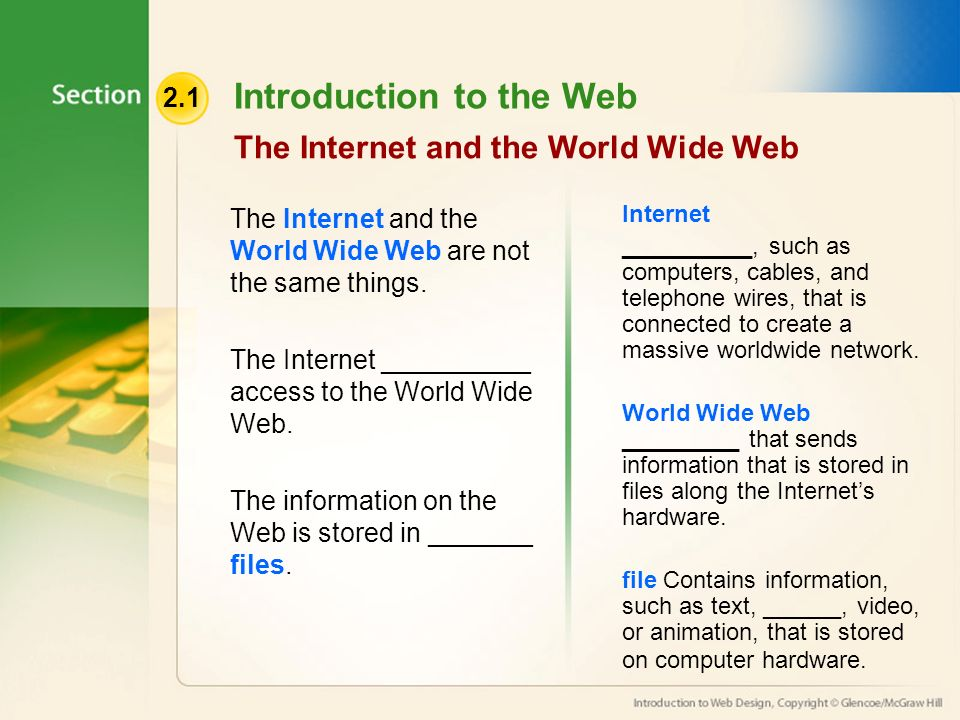 2.1 Introduction to the Web The Internet and the World Wide Web The Internet and the World Wide Web are not the same things.
