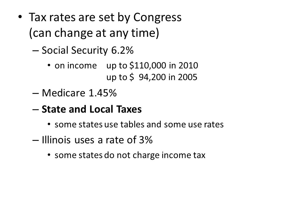 Tax rates are set by Congress (can change at any time) – Social Security 6.2% on income up to $110,000 in 2010 up to $ 94,200 in 2005 – Medicare 1.45% – State and Local Taxes some states use tables and some use rates – Illinois uses a rate of 3% some states do not charge income tax