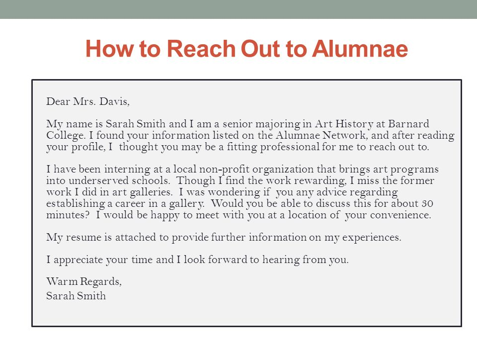 How to Reach Out to Alumnae Dear Mrs.