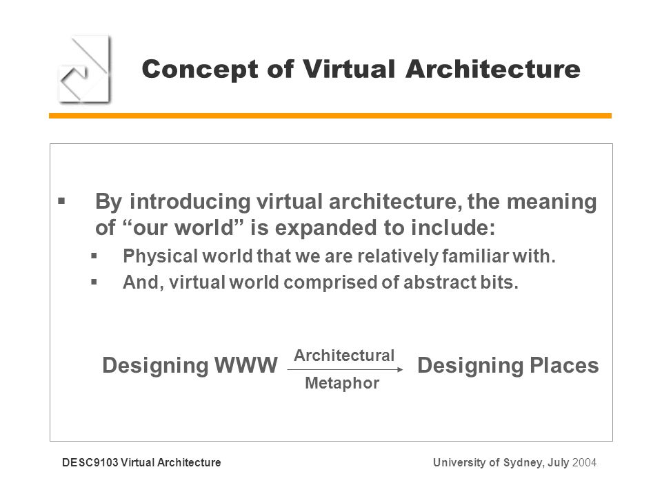 Concept Of Virtual Architecture  By Introducing Virtual Architecture, The  Meaning Of Our World Is
