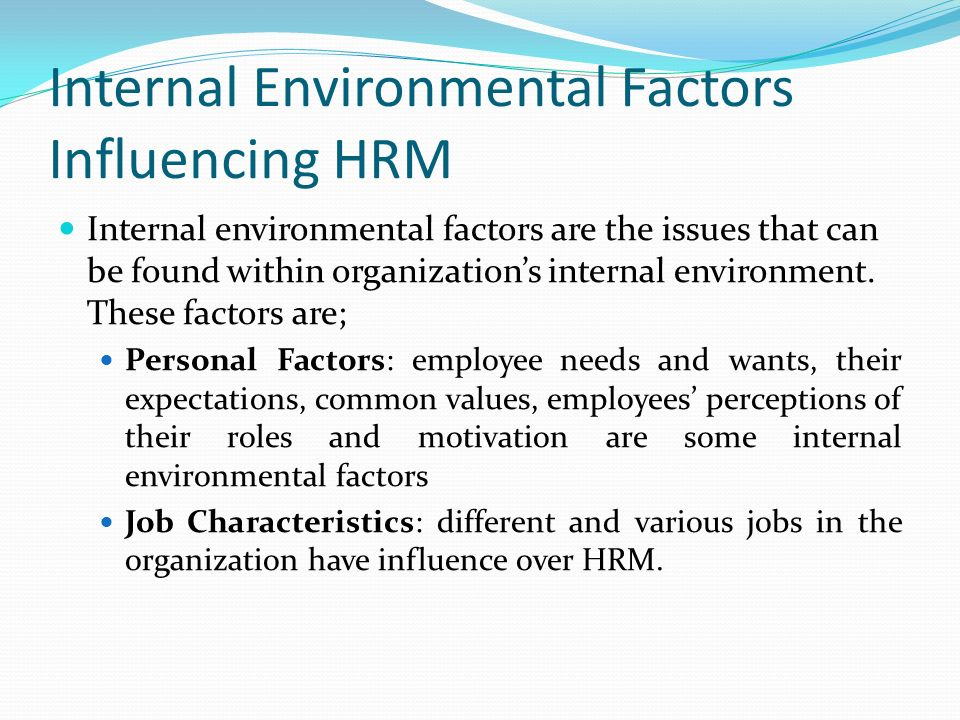 Internal Environmental Factors Influencing HRM Internal environmental factors are the issues that can be found within organization's internal environment.