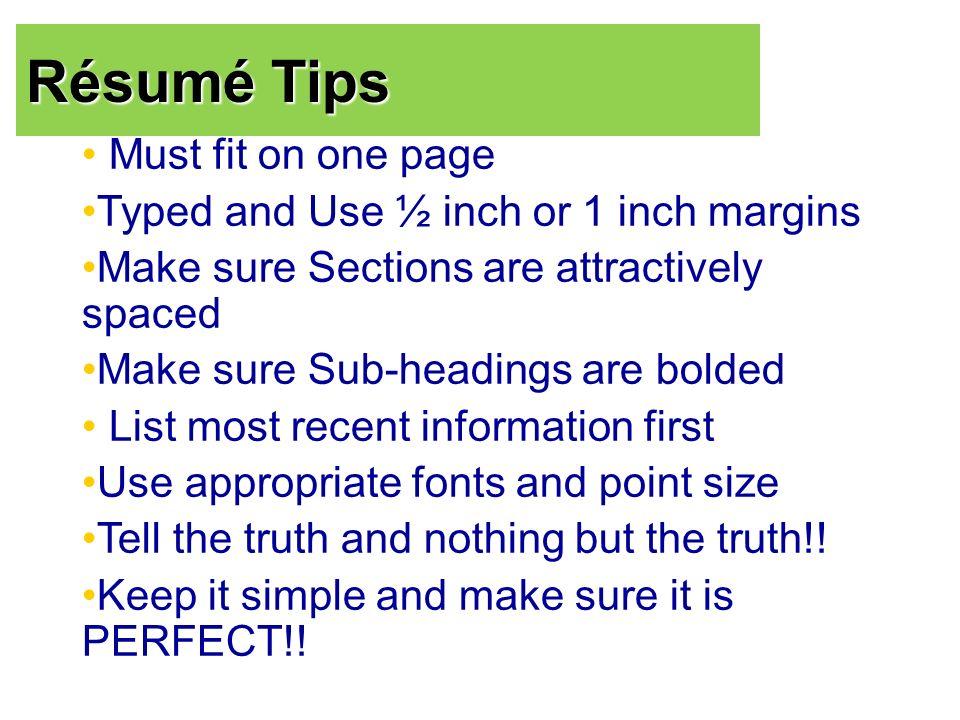 tips for writing a good résumé what is a résumé a résumé is a